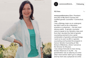 Ellen Matloff Featured on Instagram for Women In Science Day