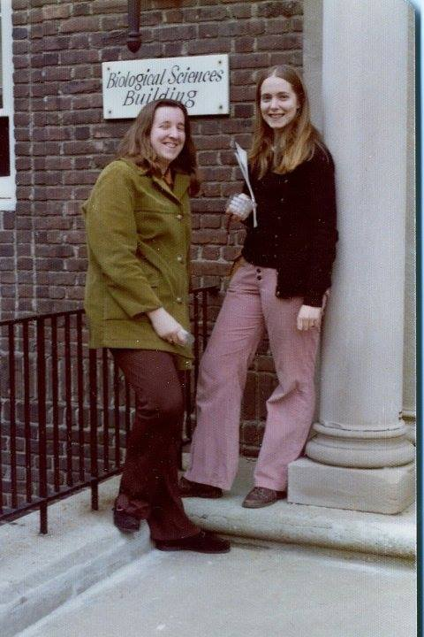 Robin (right) with a visiting friend, Karen, (left) in 1975 during Grad School at Rutgers Douglas College Biological Sciences Building